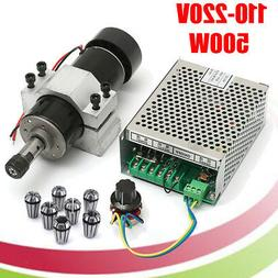 110V/220V CNC 500W Air Cooling Spindle Motor + 52mm Clamps w