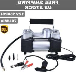 12V 150PSI Double Cylinder Air Pump Compressor Car Auto Tire