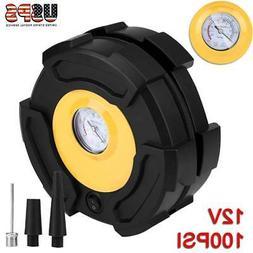 12V Car Tire Inflator Air Compressor Pump 100 PSI W/ Gauge &