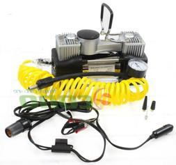 12V DC Twin Cyclinder Mini Metal Air pump Compressor Tire In