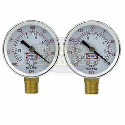 "2 Air Compressor Pressure Hydraulic Gauges 2"" Face Side Moun"
