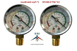 "2 Air Compressor Pressure/Hydraulic Gauge 2"" Face Side Mount"