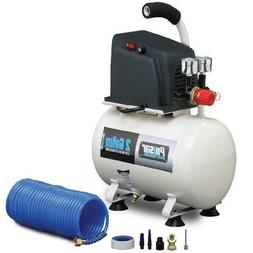 2 Gallon Oil-Free Air Compressor with Air Hose, 6 Piece Acce