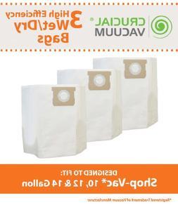 3PK Shop Vac 10 Gallon, 12 Gallon & 14 Gallon Bags; Fits Sho