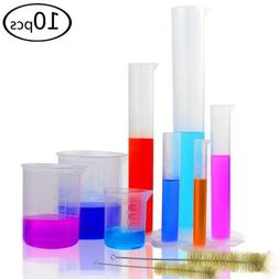 5 Graduated Plastic Cylinder 10/25/50/100/250ml with 3 Measu