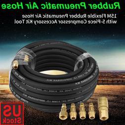 "50 ft 1/4"" NPT Air Compressor Rubber Hose Kit Industrial Com"