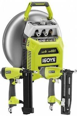 Ryobi 6 Gallon Electric Pancake Compressor Nailer Tool Combo