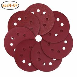Purture 72 PCS 5 Inch 8 Hole Hook and Loop Sandpaper Sanding