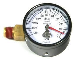 """A14993 Air Compressor Gauge 2"""" 300psi 1/4"""" Offset Side Mount"""