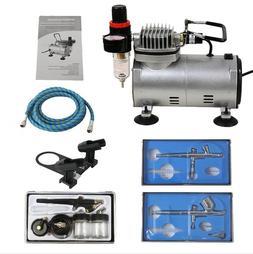 Air Compressor Crafts Hobby Art Set Air brush Kit with 3 Gun