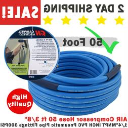 "AIR Compressor Hose 50 ft 3/8"" 1/4"" MNPT INCH PVC Pneumatic"