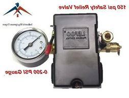 Air Compressor Pressure Control Switch 4 Ports 95-125 PSI w/