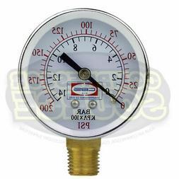 "Air Compressor Pressure / Hydraulic Gauge 2"" Face Side Mount"