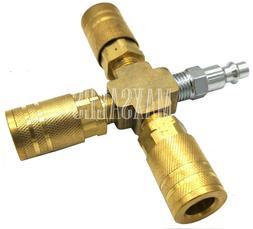 3 Way Air Hose Manifold Quick Coupler Connector Brass Fittin