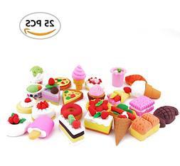 25PCS Fireboomoon Assorted Sweet Food Cake Dessert Erasers K