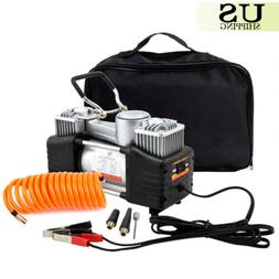 12V Auto Car Air Compressor Tire Pump Electric Double-Cylind