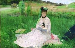 'Berthe Morisot-Reading,1873' Oil Painting, 8x12 Inch / 20x3