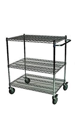 """24"""" Deep x 48"""" Wide x 39"""" High 3 Tier Black Wire Shelf Cart"""