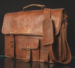 Handmade Leather Messenger Satchel Crossbody Office Laptop B