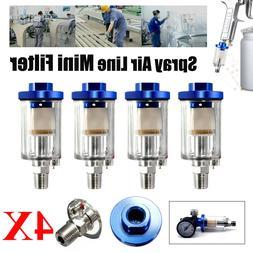 4x Inline 1/4 Air Oil / Water Separator Filter Compressor Sp