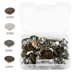 Jeans Button 40 Sets Metal Tack Buttons Replacement Kit Repa