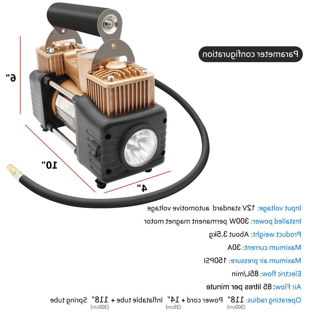 12V Heavy Duty Air Car Auto Tire Pump 150PSI