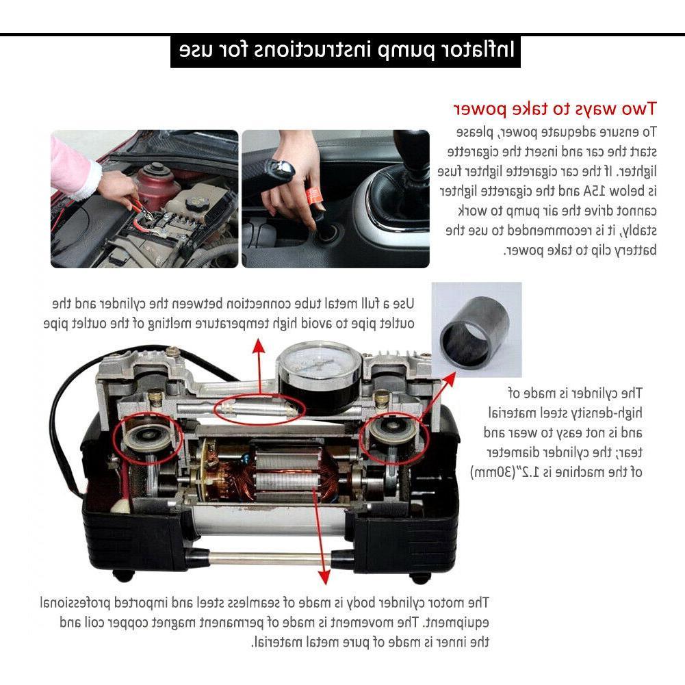 12V Heavy Air Compressor Car Tyre Auto Inflator 150PSI