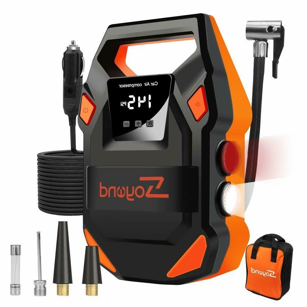12v portable air compressor tire inflator pump