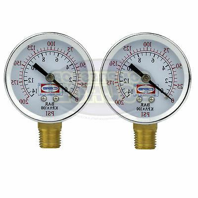 "2 Air Compressor Pressure Hydraulic Gauges 2"" Face Side Moun"