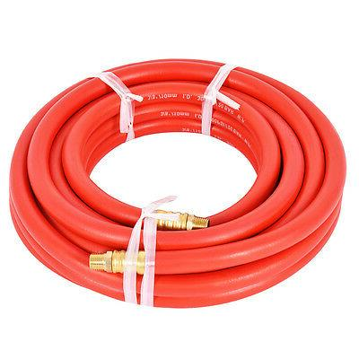 "25Ft 3/8"" Rubber Air Hose 300 PSI 1/4 Inch NPT Brass End For"