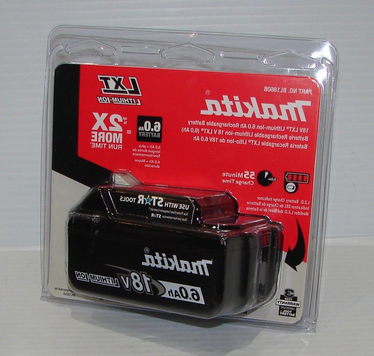 Makita BL1860B LXT Lithium-Ion Battery, 6.0 Ah, 18 Volt, New