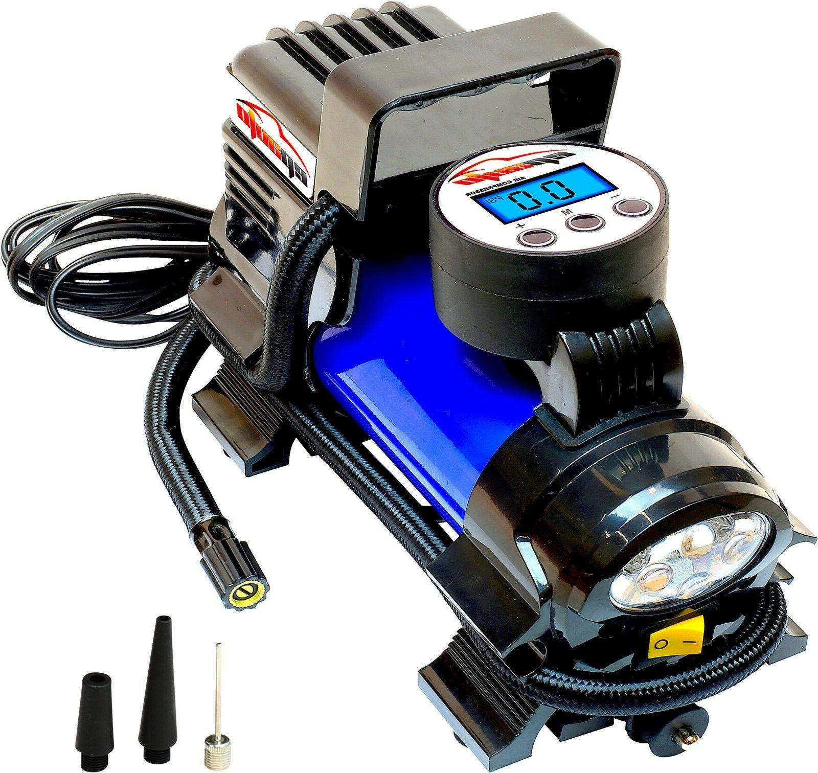 12V Air Compressor Pump Digital Inflator Flashlight