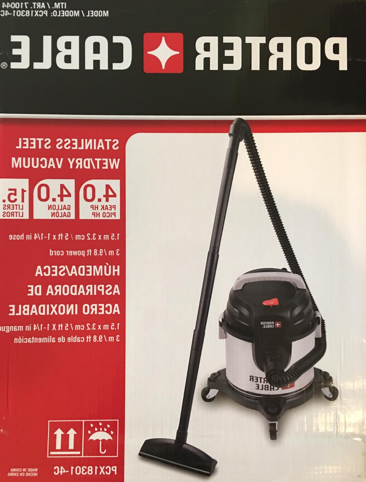 Porter Cable Stainless Steel 4-gallon Wet/Dry Vacuum and Acc