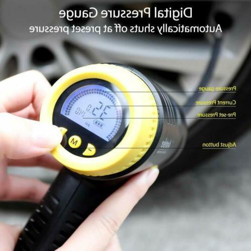 Car Air Compressor Cordless Tire Inflator LCD Auto Pump 12V 150PSI