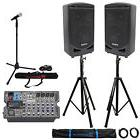 "Samson Expedition XP800 800w 8"" PA DJ Speakers+8-ch Mixer+St"