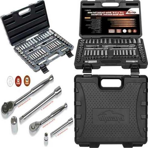 69 Pieces - EPAuto 1/4 & 3/8 Drive Socket Set with Pear Head