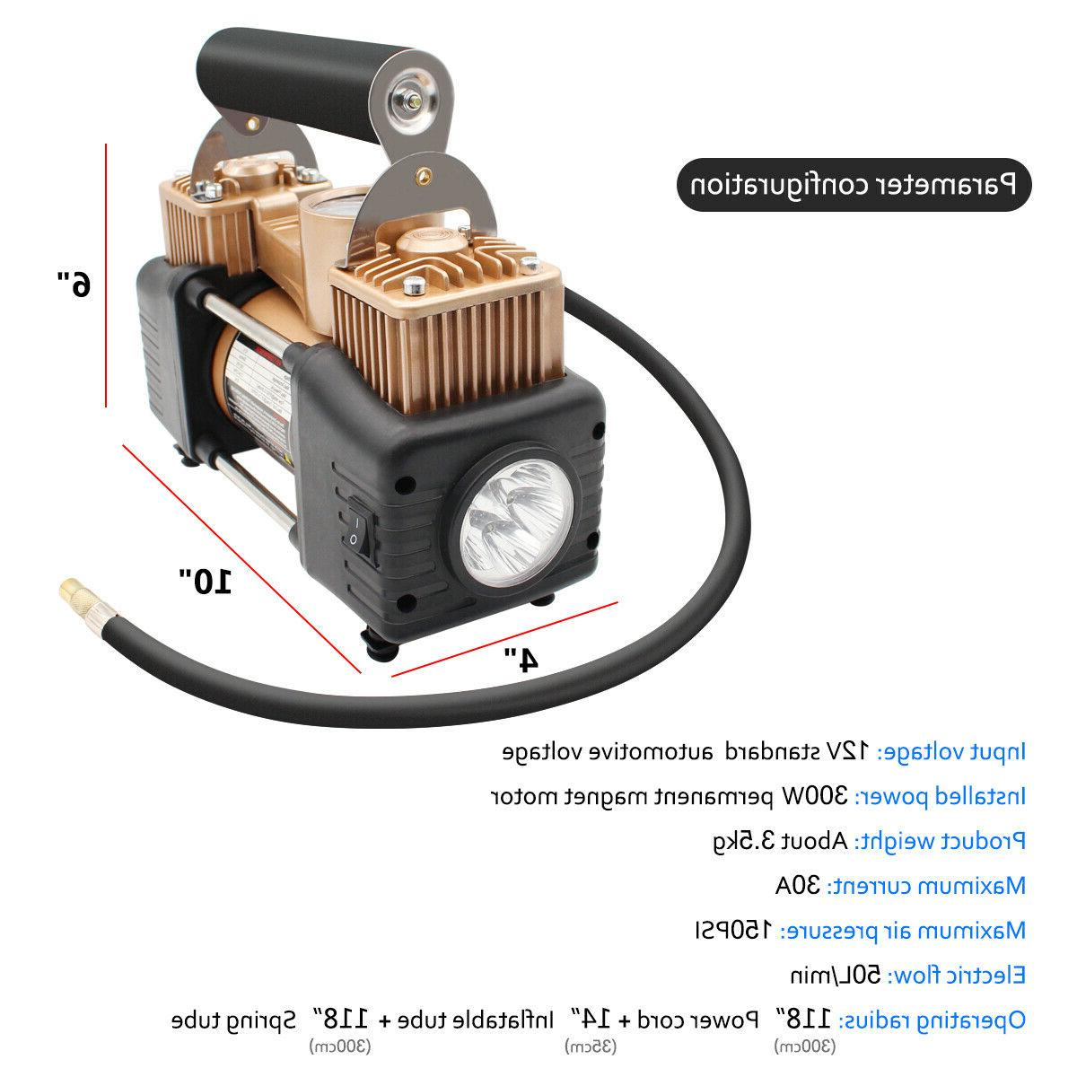 HEAVY DUTY Air Compressor Car Inflator Auto Double cylinder