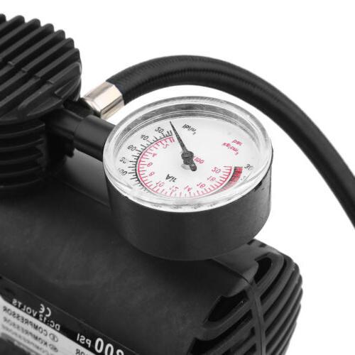 Portable 12 Volt Air Compressor With Gauge Tire Inflator