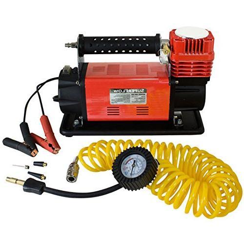 SuperFlow Volt Air Compressor, Portable Heavy Duty Air 12v Compressor, Inflator 150 PSI, Road Bikes