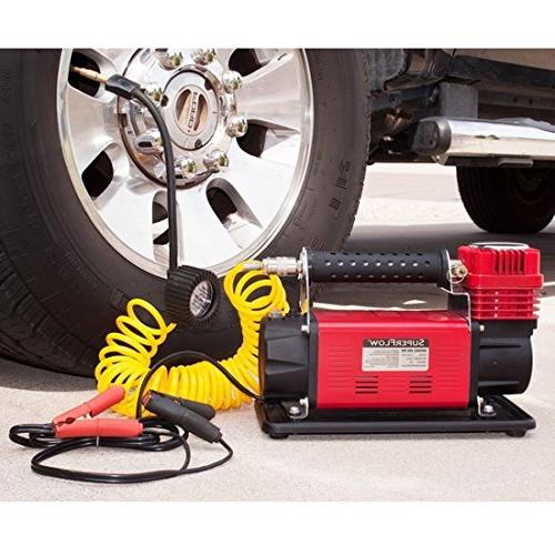 SuperFlow MV-9012 Volt Compressor, Portable Heavy Duty Air Compressor, Tire 150 PSI, for Road Vehicles, Bikes Cars