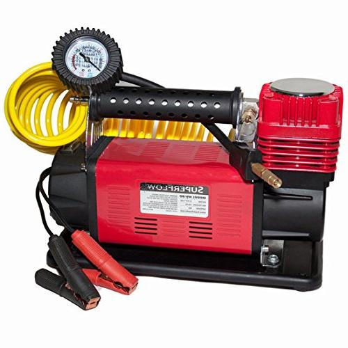SuperFlow Compressor, Portable Heavy Air Pump Compressor, Tire Inflator Road Bikes and Cars