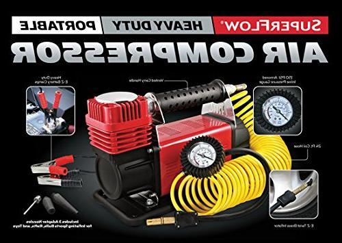 SuperFlow MV-9012 Compressor, Air 12v Air Compressor, Tire PSI, Road Bikes
