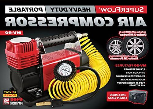 SuperFlow MV-9012 Compressor, Portable Heavy Air Air Compressor, Tire PSI, by Road Vehicles, Bikes