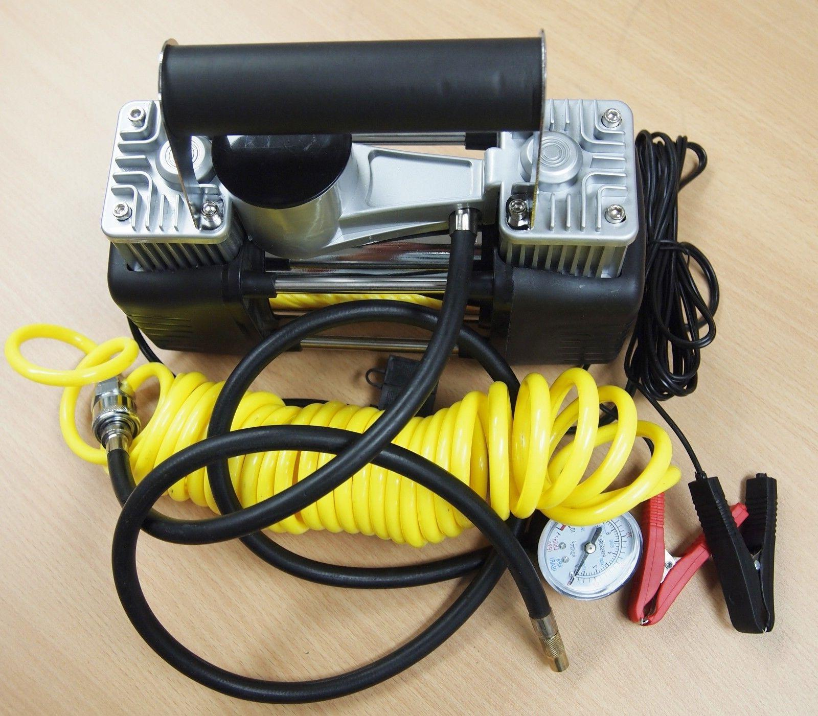 portable 12v dual cylinder air compressor pump