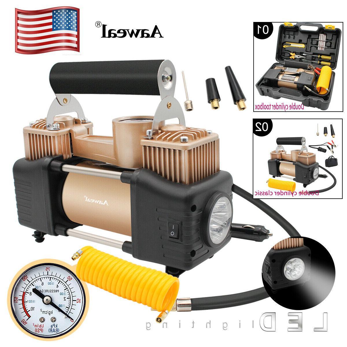 portable 12v dual cylinder led air compressor