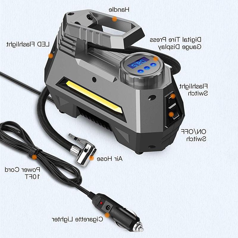 Portable <font><b>Air</b></font> Inflator - Pump Digital Gauge , Bright Flashligh