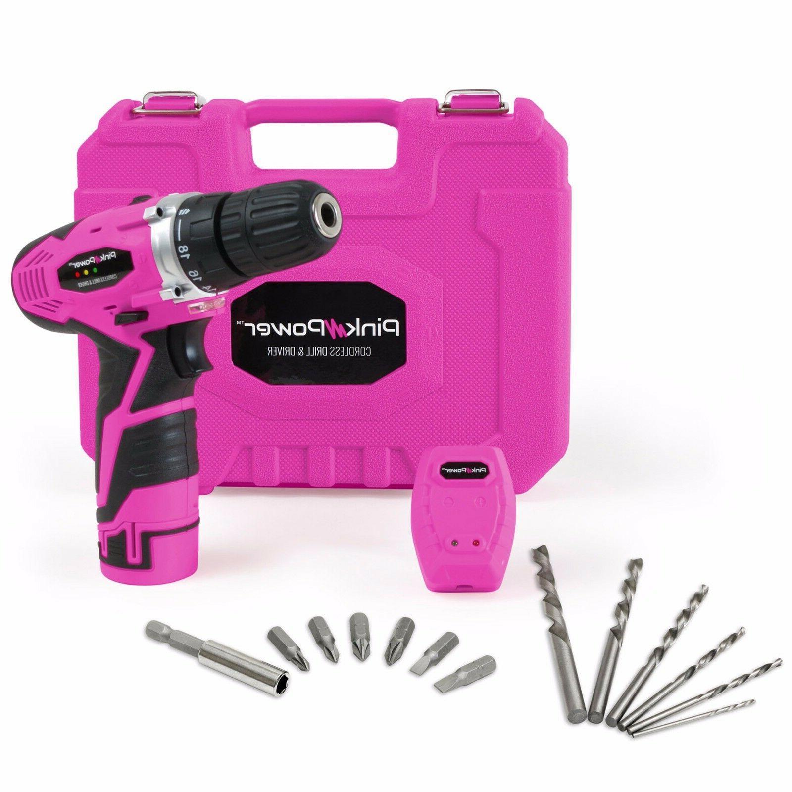 Pink Power 12 Volt Lithium Ion Cordless Drill Set Driver Kit