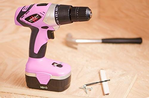 Pink Power Drill PP182 18V Cordless Electric Driver Set - Tool Case, 18 Volt Charger 2