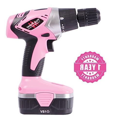 Pink 18V Electric Driver for Women - Case, Volt Drill, 2 Batteries