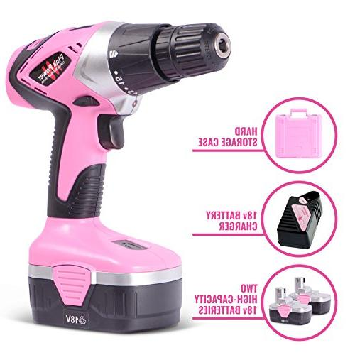 Pink Drill PP182 18V Cordless Driver Women - Volt 2 Batteries